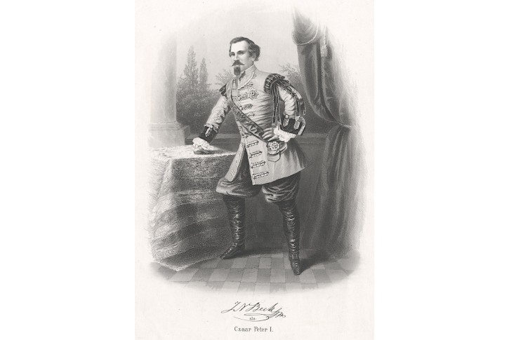 Beck J. jako car Petr I., Payne, oceloryt. (1870)