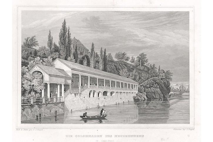 Karlovy Vary kolonáda, Lange, oceloryt, 1842
