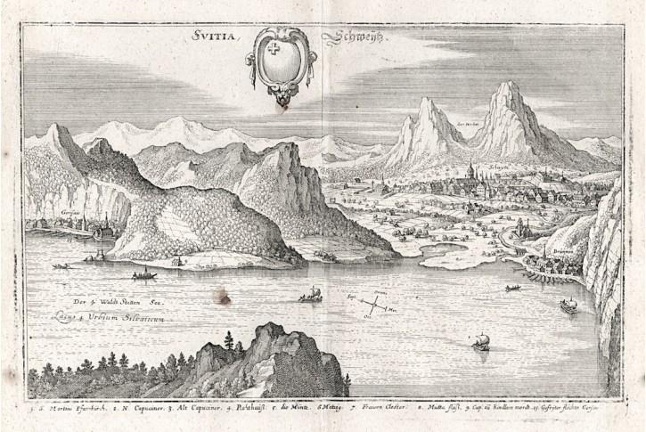 Svitia - Schweytz., Merian,  mědiryt,  1642