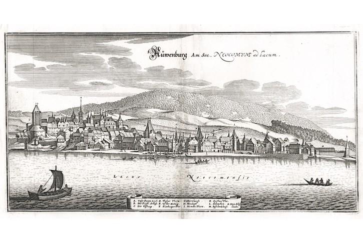 Newenburg am See, Merian,  mědiryt,  1642