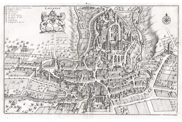 LAUSANNE, Merian,  mědiryt,  1642