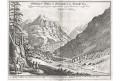 Gletschers Grindelwaldt, Merian,  mědiryt,  1642
