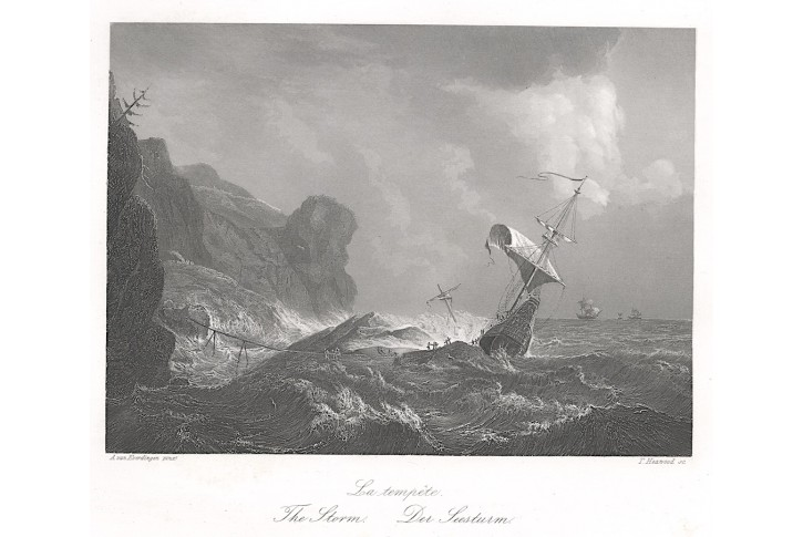 Loď v bouři Payne, oceloryt, 1850