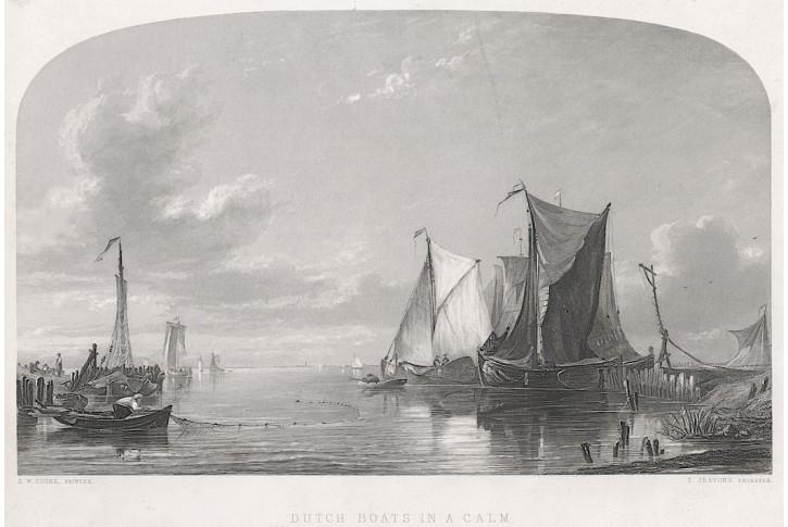 Lodě přístav, oceloryt, 1850