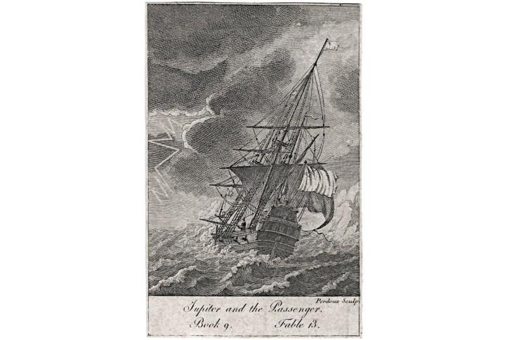 Loď plachetnice, mědiryt , (1820)