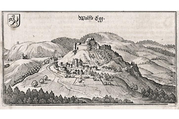 Wolfsegg am Hausruck,Merian,  mědiryt,  1649