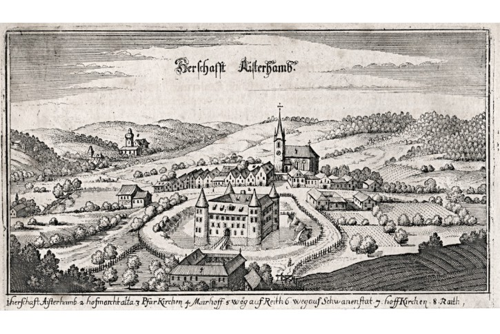 Aistersheim bei Grieskirchen,Merian, mědiryt, 1649