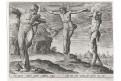 H. Cock : Ukřižování, mědiryt, (1590)
