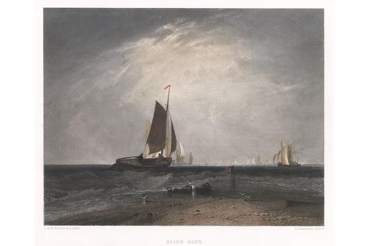 Lodě  pobřeží, kolor. oceloryt, 1850