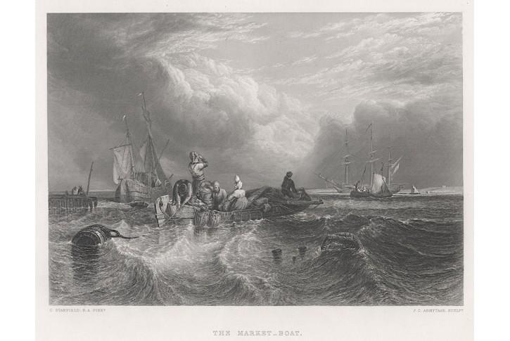 Lodě člun s prodejci, oceloryt, 1850