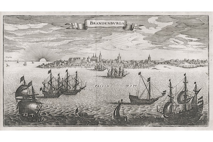 Brandenburga - Uschakovo, Merian,mědiryt 1652