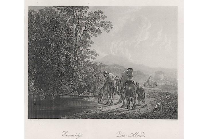 Večer, Payne, oceloryt, (1860)
