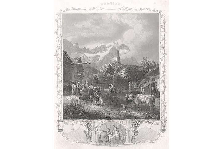 Ráno ( Alpy), Payne, oceloryt, (1860)