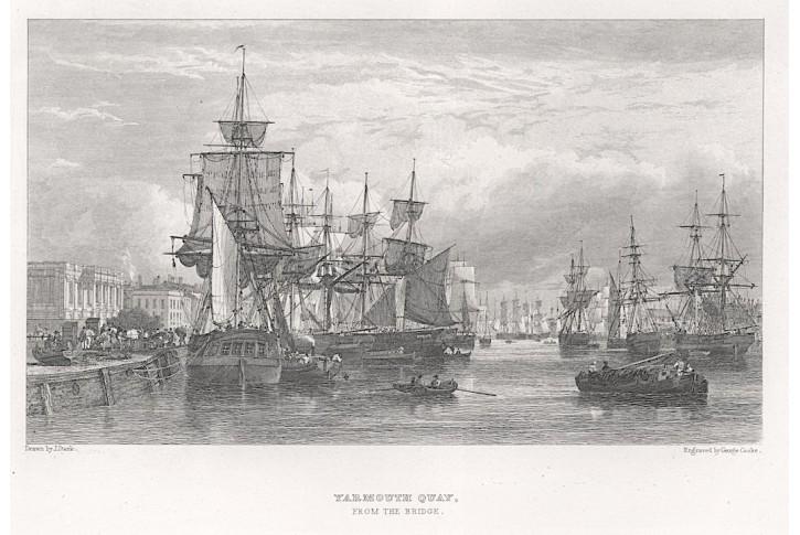 lodě přístav Yarmouth Quay, oceloryt, (1830)