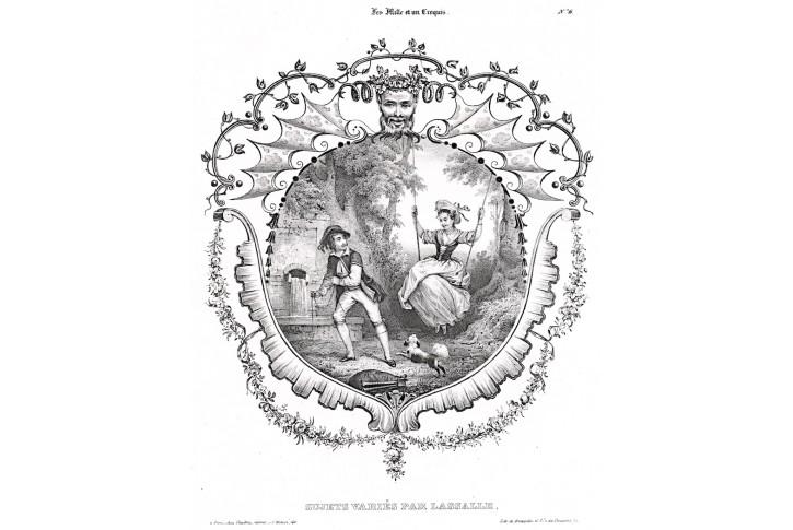 Na houpačce, Lasalle, litografie, 1840
