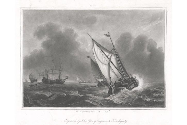 lodě, podle Vandeveldeho, akvatinta,  1821