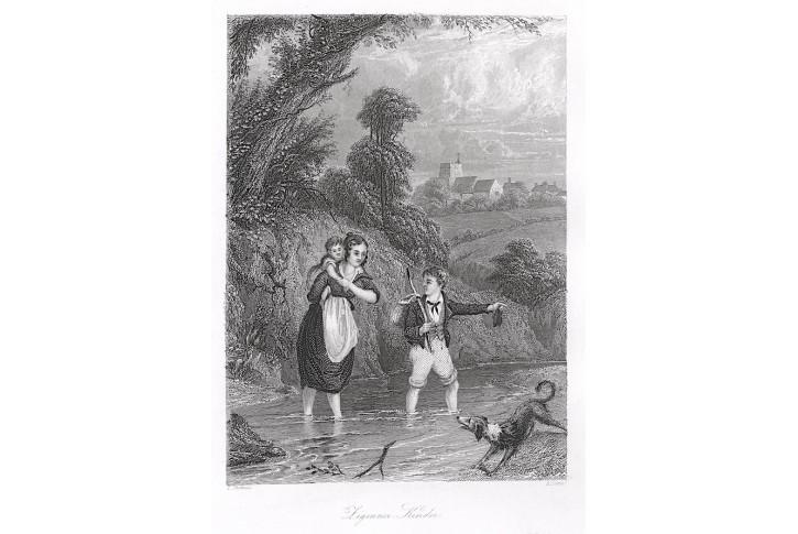 Romové - Cikáni děti, oceloryt, (1840)