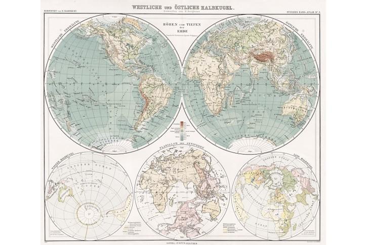 Svět hemisféry, Stieler, litografie, 1905