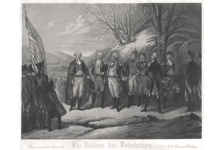 George Washington a hrdinové, mědiryt, 1850