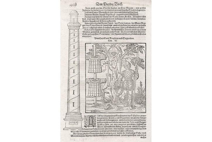 Trofeje vítězné, S. Münster, dřevořez, (1590)