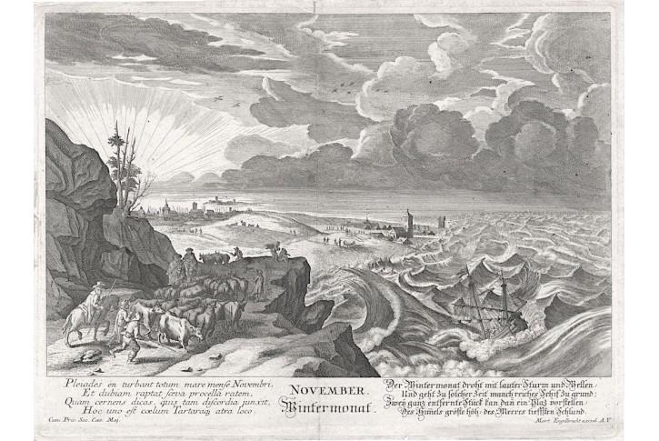 Listopad, M. Engelbrecht, mědiryt, (1730)