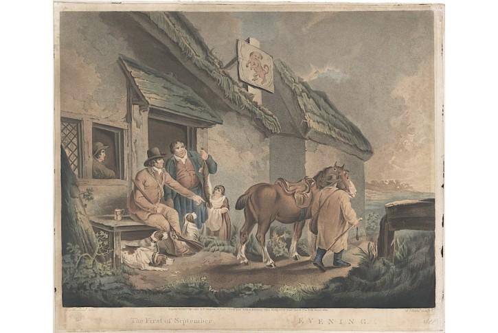 Věčer zářijový, Morland,  kolor. akvatinta, 1799