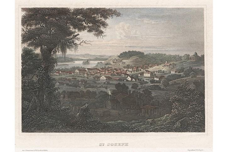 St. Joseph Missouri, Meyer, kolor. oceloryt, 1850