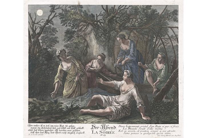 Večer, Hertel,kolor. mědiryt, (1760)