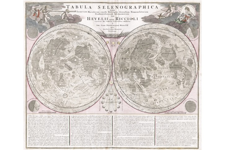 Tabula Selenogrpahica, Homann, mědiryt, 1707