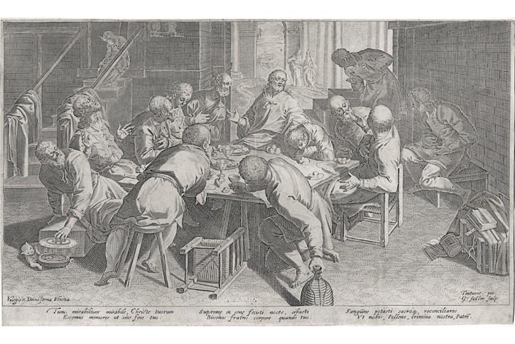Sadeler Aeg., Poslední večeře,  mědiryt, (1600)