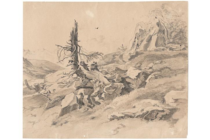 Krajina v horách, kresba, (1850)