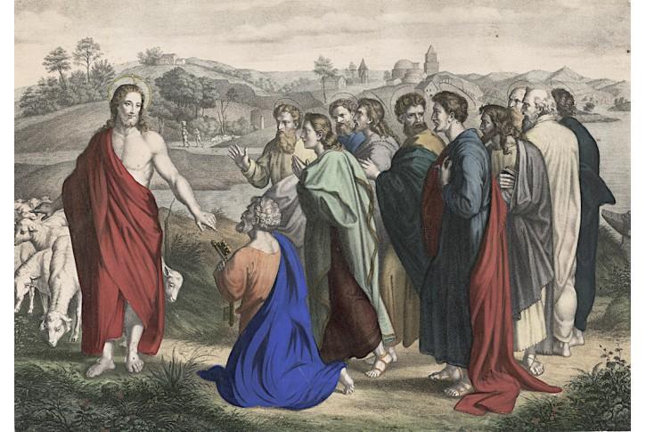 Ježíš učedníci pastýř, kolor. litografie, 1860