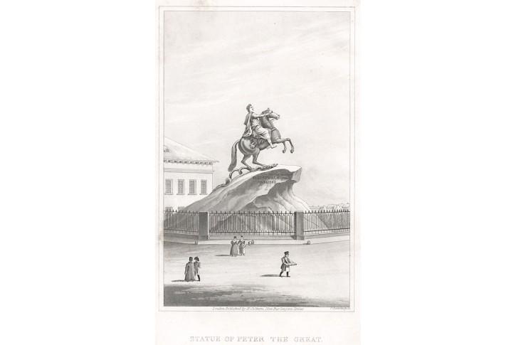 Petrohrad,  Petr Veliký,  akvatinta, (1820)