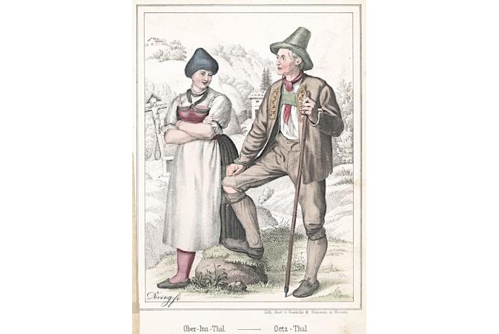 Inn Thal kroj, Duller, kolor.  litografie, 1847