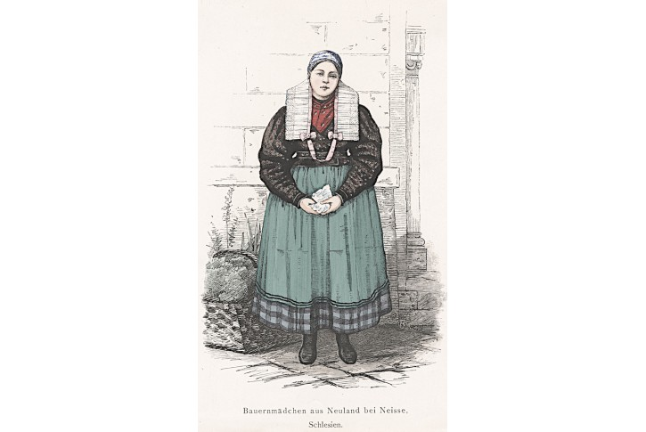 Nisa Slezsko kroj, xylografie, 1870