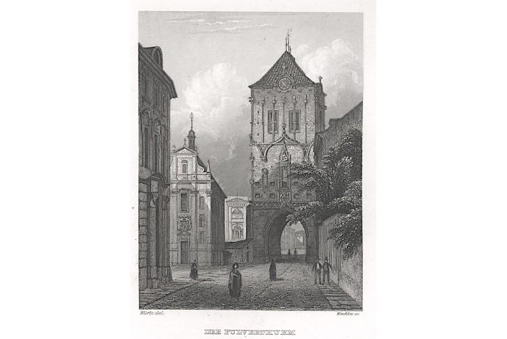 Praha Prašná brána, Haase, oceloryt (1840)