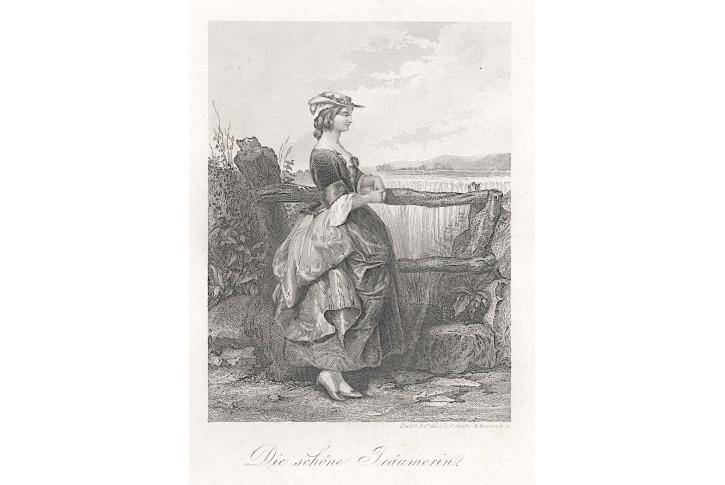 Zasněná kráska, Lloyd, oceloryt, 1860