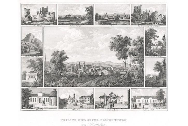 Teplice, litografie, (1860)