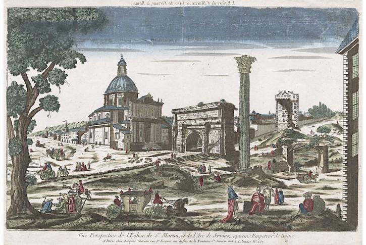 Roma Forum Romanum, kolor. mědiryt, (1760)