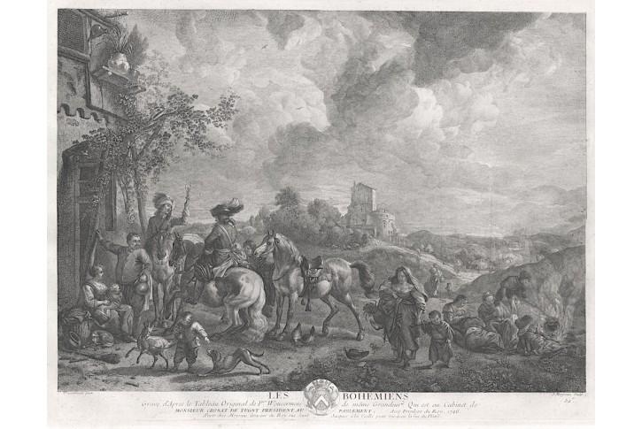 Romové - Cikáni, Moyerau, mědiryt, 1746