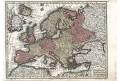 Seutter, Europa, kolor. mědiryt, 1740