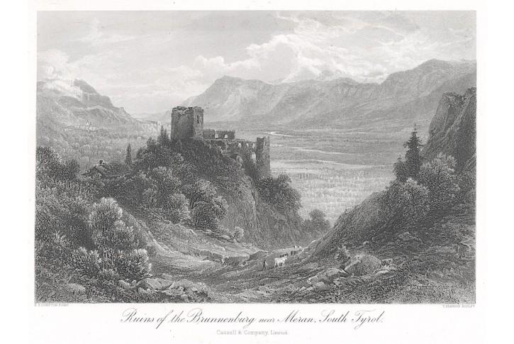 Brunnenburg - Meran, oceloryt,(1870)