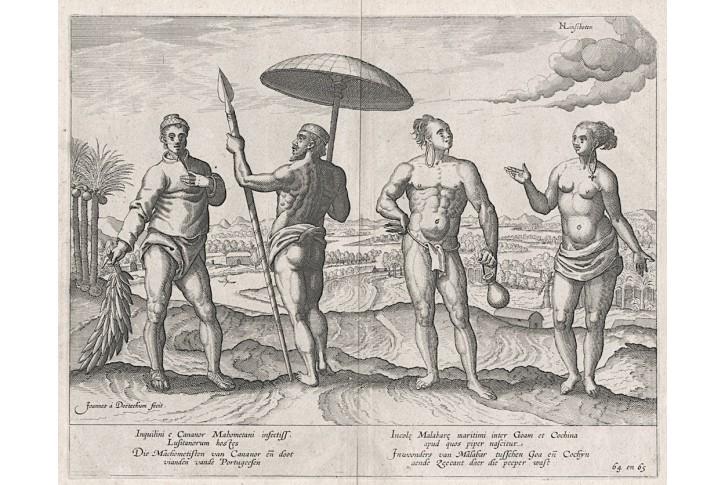 Cananor Malabare, Linschoten, mědiryt, 1597