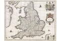 Blaeu : Anglie Regnum kolor. mědiryt, (1640)