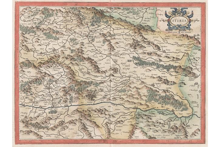 Mercator - Hondius, Stiria, kolor. mědiryt, 1623