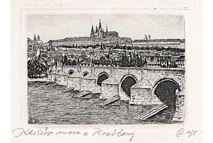 Praha Karlův most, lept , (1940)