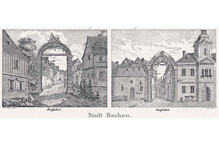 Bochov, Glasser, litografie, 1836