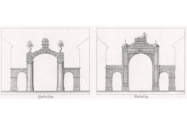 Hořice, Sadová, Glasser, litografie, 1836