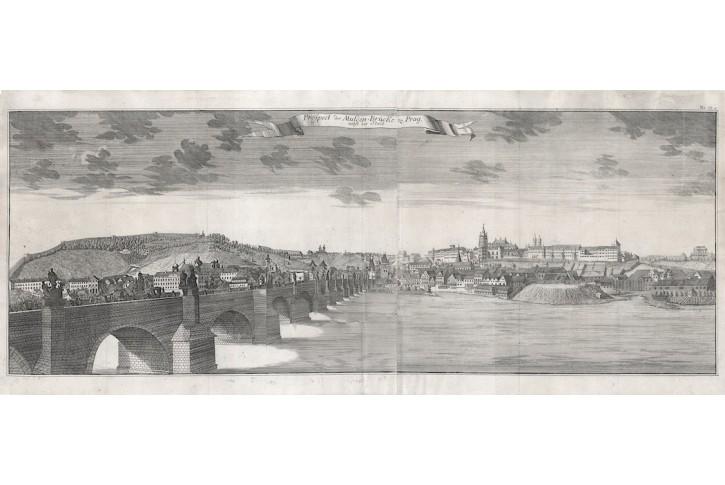 Praha Karlův Most Schramm, mědiryt, 1735