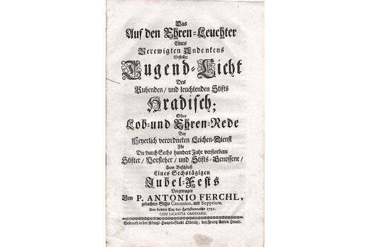 Německé barokní kázání Das Auf den..., Olom. 1751